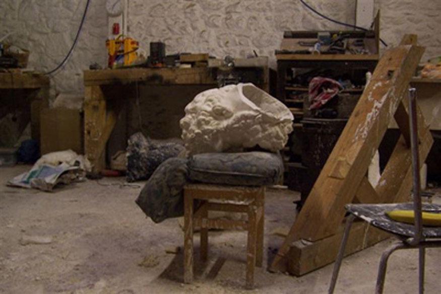 plaster cast in Mark Hallidays studio